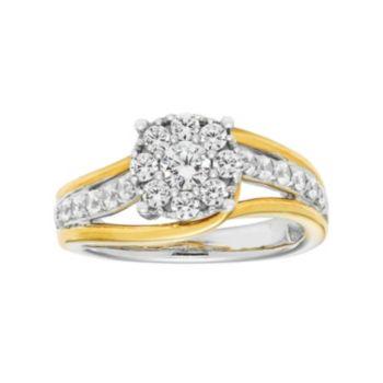 Boston Bay Diamonds Two Tone 14k Gold 7/8 Carat T.W. Diamond Cluster Engagement Ring