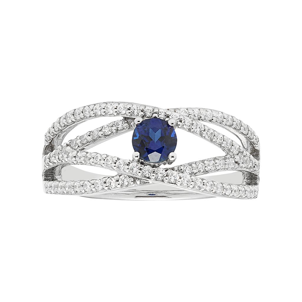 Boston Bay Diamonds 14k White Gold Sapphire & 3/8 Carat T.W. Diamond Twist Engagement Ring