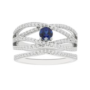 Boston Bay Diamonds 14k White Gold Sapphire & 1/2 Carat T.W. Diamond Twist Engagement Ring Set