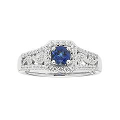 Boston Bay Diamonds 14k White Gold Sapphire & 1/3 Carat T.W. Diamond Paisley Engagement Ring