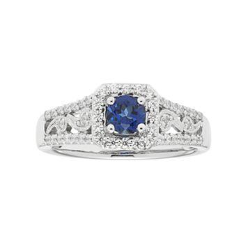 Boston Bay Diamonds 14k White Gold Sapphire & 1/3 Carat T.W. Diamond Paisley Engagement Ring