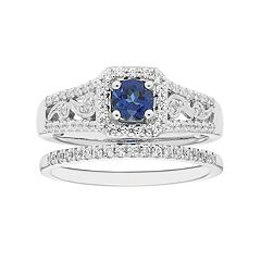 Boston Bay Diamonds 14k White Gold Sapphire & 3/8 Carat T.W. Diamond Paisley Engagement Ring Set