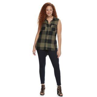 Plus Size Rock & Republic® High-Low Sleeveless Plaid Shirt