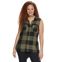 Plus Size Rock & Republic® High-Low Sleeveless Plaid Shirt