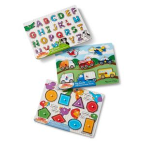 Alphabet, Vehicles & Shapes Wooden Peg Puzzle Bundle by Melissa & Doug