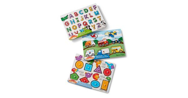 Alphabet Vehicles Amp Shapes Wooden Peg Puzzle Bundle By