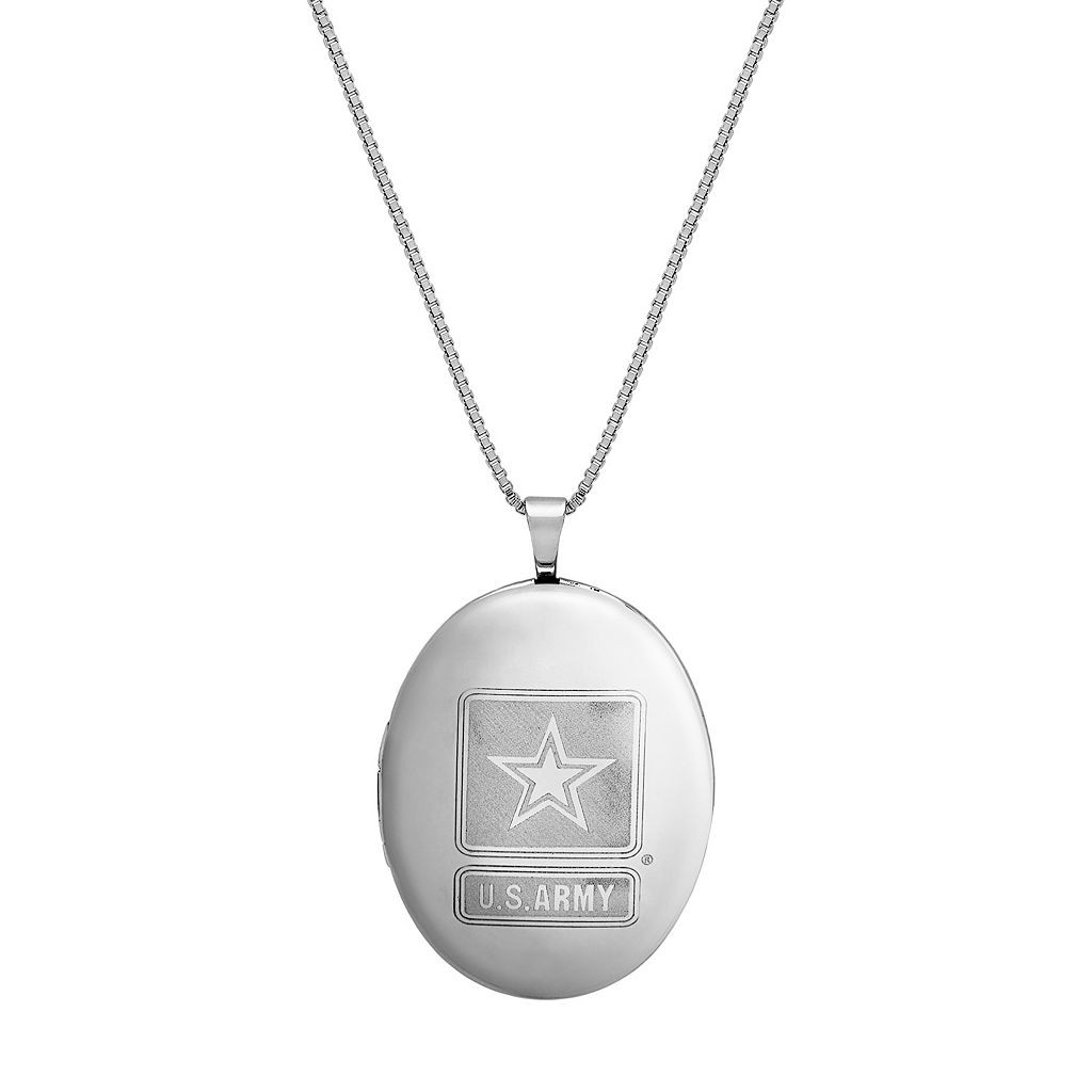 Sterling Silver U.S. Army Locket Necklace
