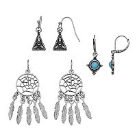 Mudd® Dream Catcher, Aqua Stone & Antiqued Triangular Drop Earring Set