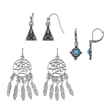 Mudd® Dream Catcher, Aqua Stone & Antiqued Triangular Drop Earring Set