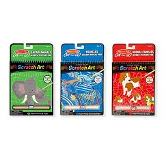 Vehicles Color-Reveal, Safari & Animal Hidden Pictures Scratch Art Pad Bundle by Melissa & Doug