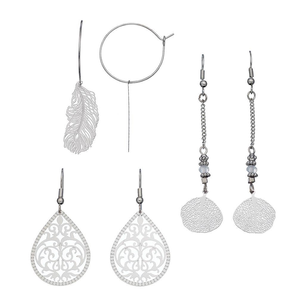 Mudd® Feather, Oblong Disc & Filigree Teardrop Earring Set