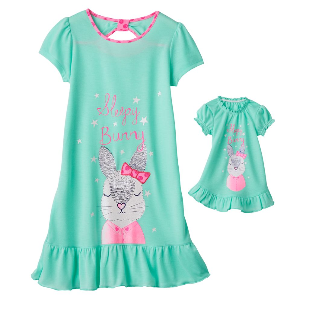 Girls 4-16 SO® Bow-Back Animal Dorm Nightgown & Doll Gown Set