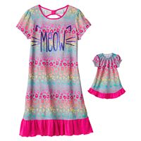 Girls 4-16 SO® Bow-Back Print Dorm Nightgown & Doll Gown Set
