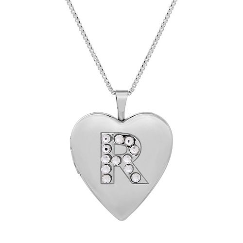 Sterling Silver Crystal Monogram Heart Locket Necklace