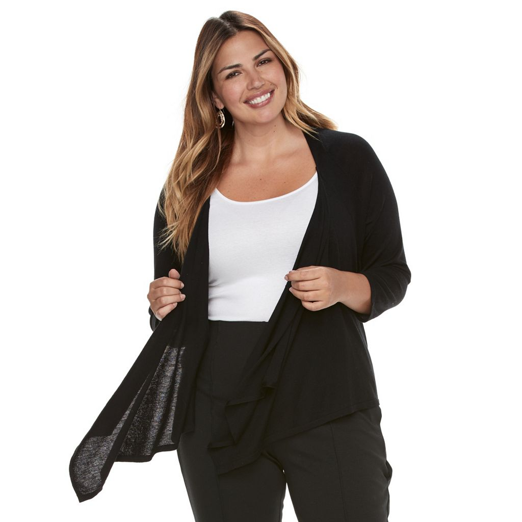 Plus Size Dana Buchman Draped Open-Front Cardigan