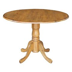 International Concepts Round Dual Drop Leaf Pedestal Table
