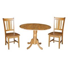 International Concepts Round Dual Drop Leaf Table & Dining Chair 3 pc Set