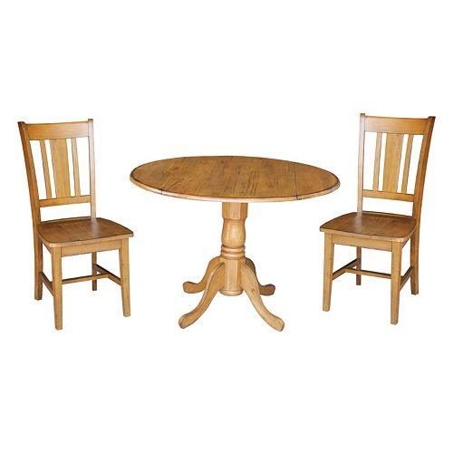 International Concepts Round Dual Drop Leaf Table & Dining Chair 3-piece Set
