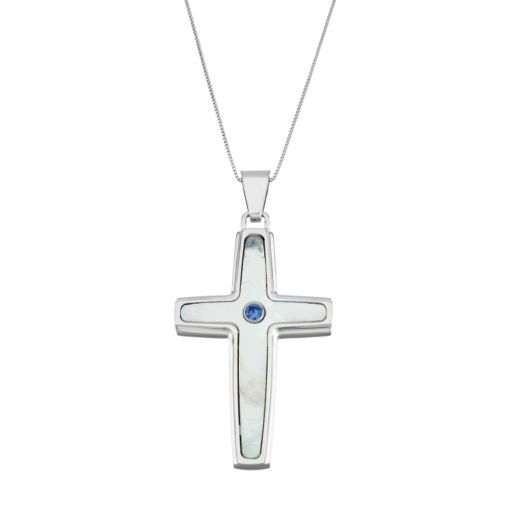Men's Stainless Steel Mother-Of-Pearl & Lab-Created Sapphire Cross Pendant