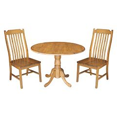 International Concepts Round Dual Drop Leaf Table & Curved Slat Back Dining Chair 3 pc Set