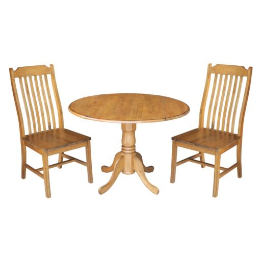 International Concepts Round Dual Drop Leaf Table & Curved Slat Back Dining Chair 3-piece Set