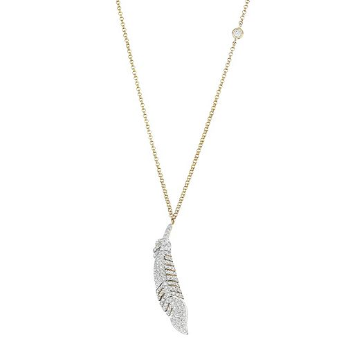 14k Gold 1/3 Carat T.W. Diamond Feather Pendant