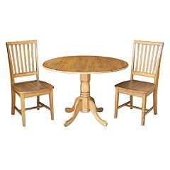 International Concepts Round Dual Drop Leaf Table & Slat Back Dining Chair 3 pc Set