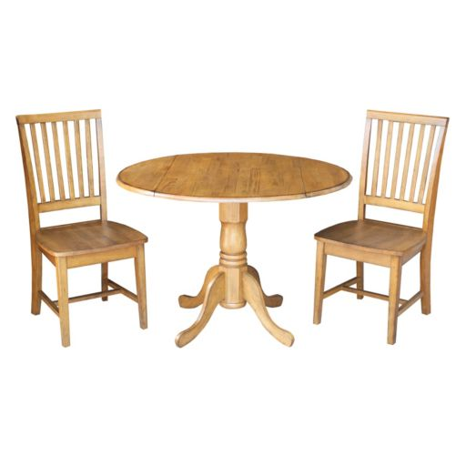 International Concepts Round Dual Drop Leaf Table & Slat Back Dining Chair 3-piece Set