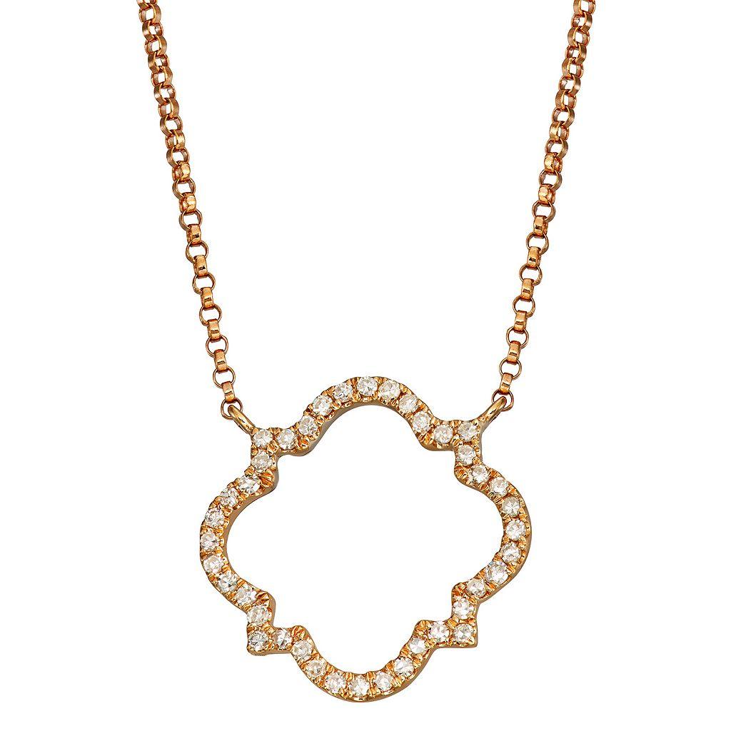14k Rose Gold 1/5 Carat T.W. Diamond Quatrefoil Pendant
