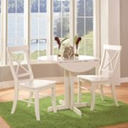 International Concepts Round Dual Drop Leaf Table & Crossback Dining Chair 3 pc Set