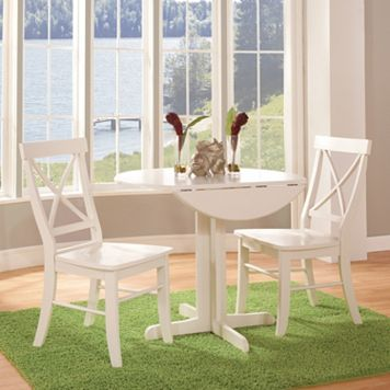 International Concepts Round Dual Drop Leaf Table & Crossback Dining Chair 3-piece Set