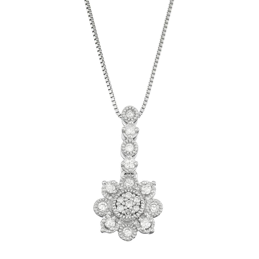 10k White Gold 1/5 Carat T.W. Diamond Flower Pendant