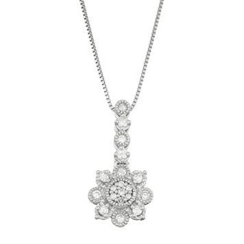 10k White Gold 1/5 Carat T.W. Diamond Flower Pendant