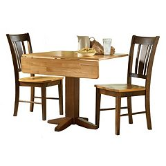 International Concepts Square Dual Drop Leaf Table & Slat Back Dining Chair 3 pc Set