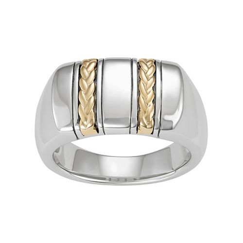 Men's Sterling Silver & 10k Gold Braided Ring