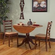 International Concepts Round Dual Drop Leaf Table & Ladderback Dining Chair 3 pc Set