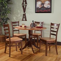 International Concepts Round Dual Drop Leaf Table & Ladderback Dining Chair 5 pc Set