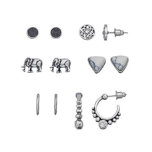 Mudd® Hoop, Elephant, Marbled Triangle & Round Earring Set