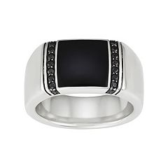 Men's Sterling Silver Onyx & 1/3 Carat T.W. Black Diamond Ring