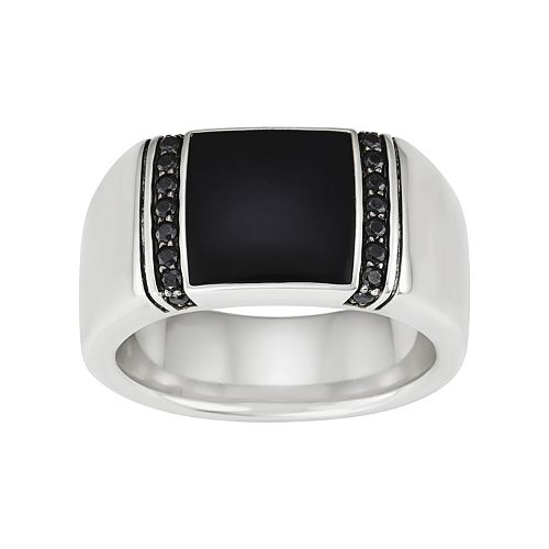 Men's Sterling Silver Onyx & 1/3 Carat T.W. Black Diamond Ring
