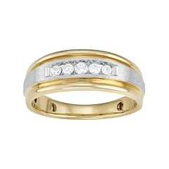 Men's Two Tone 14k Gold  1/4 Carat T.W. Diamond Wedding Band