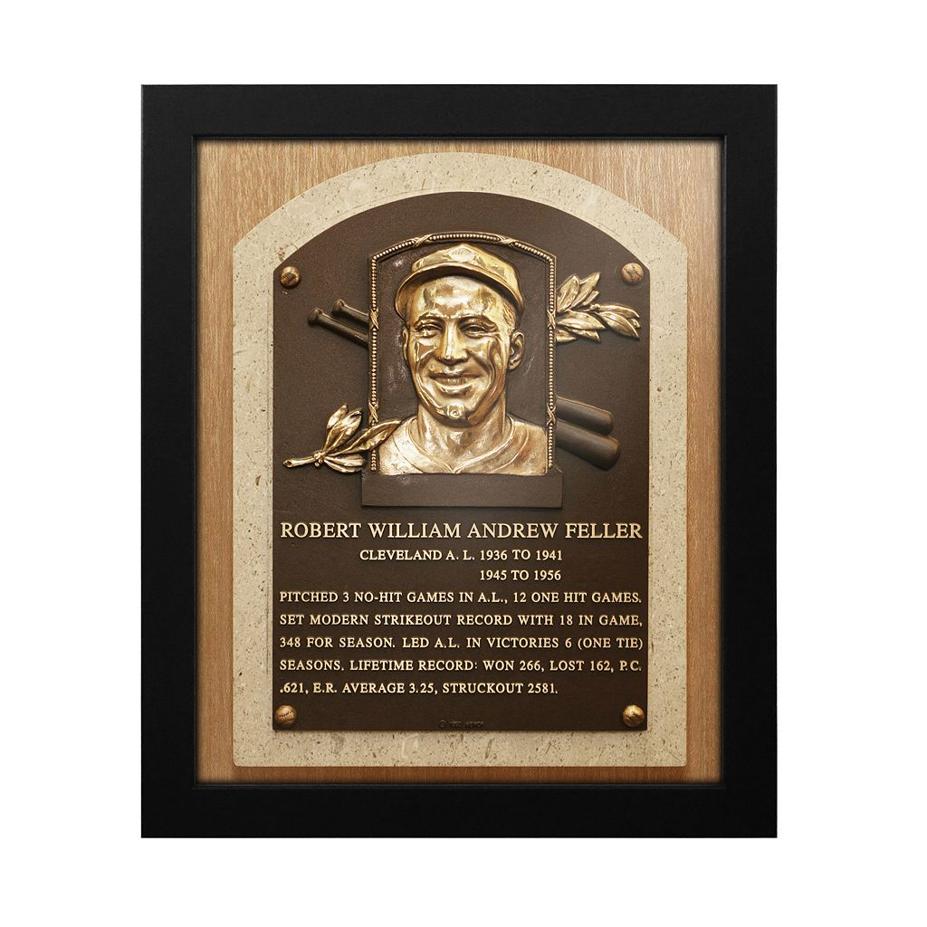 Cleveland Indians Bob Feller Baseball Hall of Fame Framed Plaque Print