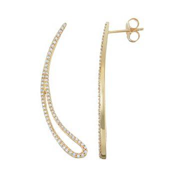 14k Gold 1/2 Carat T.W. Diamond Curved Teardrop Earrings