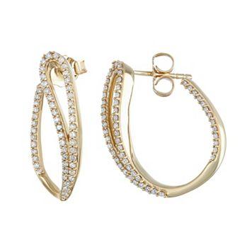 14k Gold 1/2 Carat T.W. Diamond Curved Teardrop U-Hoop Earrings