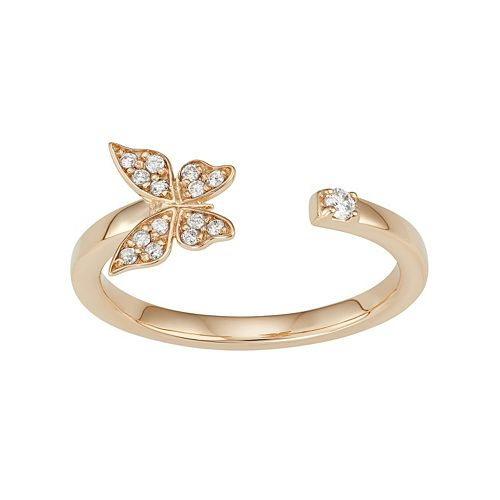 14k Gold 1/10 Carat T.W. Diamond Butterfly Open Ring