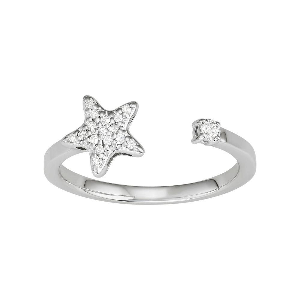 14k White Gold 1/10 Carat T.W. Diamond Star Open Ring