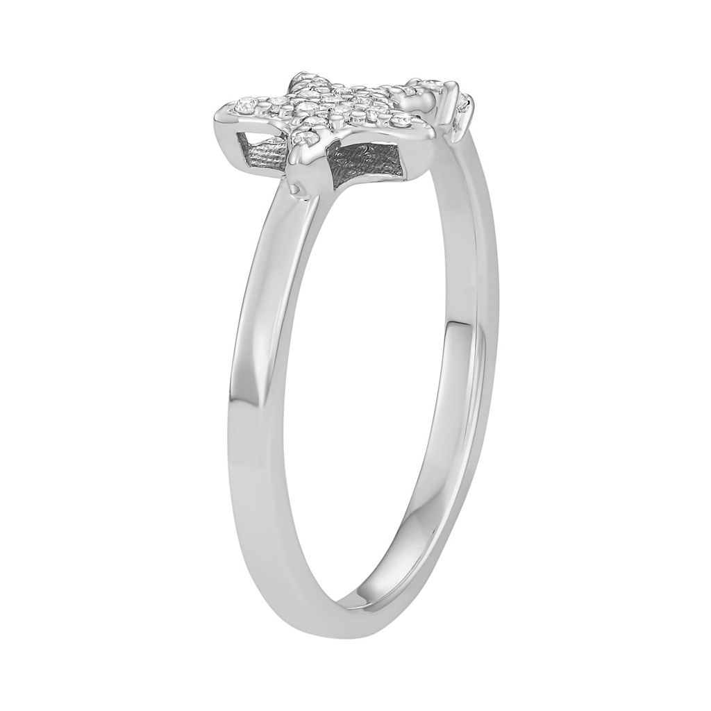 14k White Gold 1/10 Carat T.W. Diamond Star Open Ring