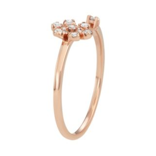 10k Rose Gold 1/6 Carat T.W. Diamond Flower Open Ring