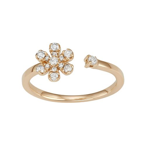 14k Gold 1/6 Carat T.W. Diamond Flower Open Ring