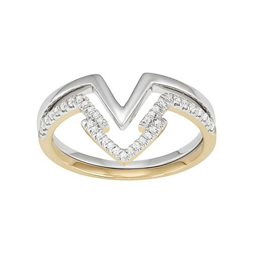 Two Tone 14k Gold 1/4 Carat T.W. Diamond Arrow Stack Ring Set